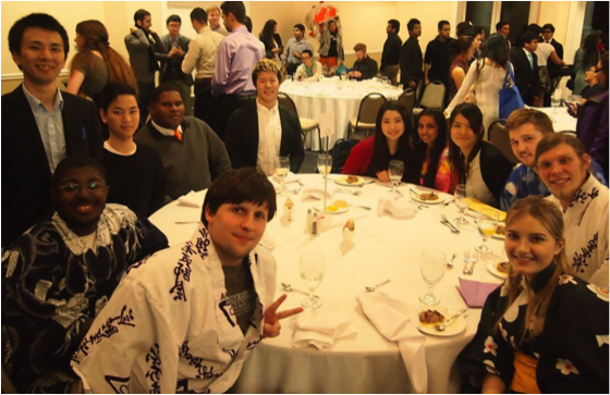Students at a dining table at the International Gala